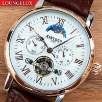 Mens Flywheel Luxury Automatic Mechanical Watch Rose Gold White Dial Moon Phase