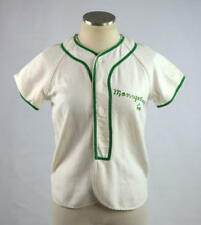 Vtg 70s WILSON White Green Trim Embroidered Woven Baseball Jersey Shirt Top XS