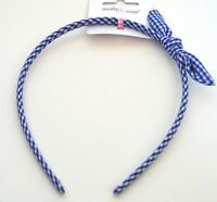NEW Blue gingham check aliceband with matching bow headband fashion