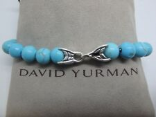 DAVID YURMAN Spiritual Bead Bracelet Sterling Silver with Turquoise 8mm Sz 8.5""