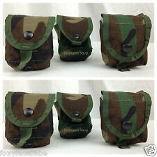 LOT OF 6 POUCHES - US Military Woodland Camo Multipurpose Grenade Pouches EUC
