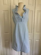 Lilly Pulitzer Sz S Sleeveless Blue White Cotton Seersucker Ruffle Front Dress