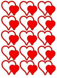 15 Double Heart Shaped Stickers, lots of colours !, decoration, tanning tattoos