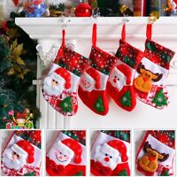 Christmas Stockings Socks Santa Claus Candy Gift Bag Xmas Tree Hanging Ornament