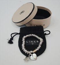 LINKS OF LONDON Sterling Silver & Gold Heart & Star Charm Sweetie Bracelet
