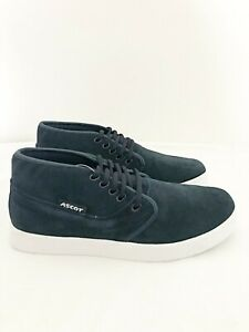 New Mens Ascot Navy Lace Up Shoe Smart High Top Suede Trainer