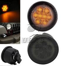 Smoke Lens Front Amber LED Turn Signal Light for Jeep Wrangler JK 07-16 DOT RoHS