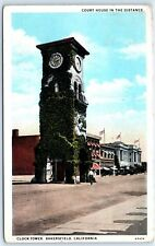 Postcard CA 1932 Bakersfield Clock Tower Court House In Distance B1