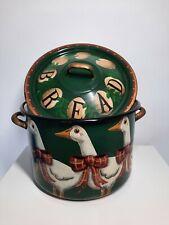 More details for emma stubbs hunk vintage enamel bread bin - hand painted 1994 green cottagecore