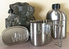 BRAND NEW MILITARY STAINLESS STEEL STYLE CANTEEN WITH CUP,1.3LITER 44oz.& LID.