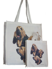 More details for bloodhound dog adult & child shopping or dog treats packed lunch stc tote bag