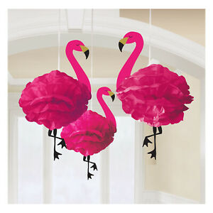 3 x Hawaiian Tropical Party Deluxe Pink Flamingo Hanging Paper Decorations 49cm