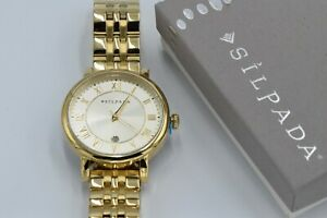 """Silpada NEW """"Gilded"""" Stainless Steel & Gold Tone Push Button Watch T3490 $179"""