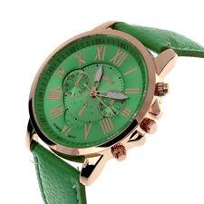 Fashion Womens GENEVA Date Leather Stainless Steel Analog Quartz Wrist Watch