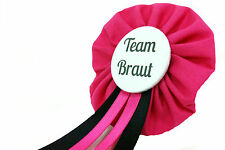 Orden Team Braut JGA Herz Anstecker Button Junggesellinnenabschied schwarz pink