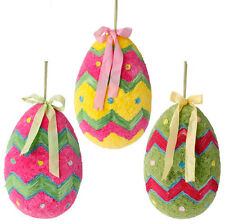 "E3553323 Xlarge Raz 20"" Hanging Chevron Easter Egg Spring Ornament Decoration"