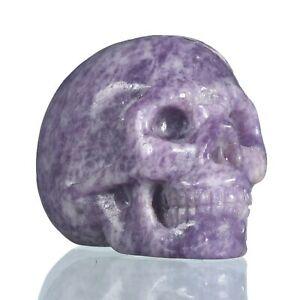 "1.54""Natural Lepidolite Carved Skull Metaphysic Healing Power #32W95"