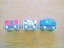3Pc Milk/Cow Box Car, Red Box Car & Blue Engine, Wood Magnetic connector Trains