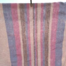 Vintage Woven Striped Afghan Blanket Throw Blue Dusty Rose Pink Fringe 56 x 62