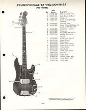 VINTAGE AD SHEET #3577 - FENDER GUITAR PARTS LIST - VINTAGE '62 PRECISION BASS