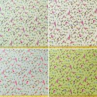 100% Cotton Poplin Fabric Rose & Hubble Small Garden Birds & Leaves