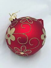 Christmas Glass Ornament Ball#3/ Red with Gold Flowers Decoration/Variety of Siz
