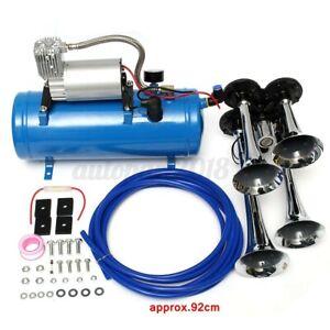 4 Trumpet Truck Car Air Horn 12V Compressor Tubing Kit 150DB Train