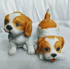 2 Vtg Homco Playful Brittany Cocker Spaniel Puppies Dog Tan White Figurines Pair