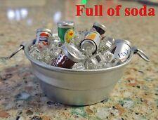 MINIATURE WASHTUB FULL OF SODA ON ICE TIN BUCKET for DOLLHOUSE or FAIRY GARDEN