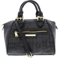 Juicy Couture Womens Promenade Black Logo Satchel Handbag Purse Small BHFO 9297