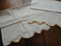 Pillow Cases Set 2 Vintage Muslin Ecru with Orange & Gold Crochet Edge