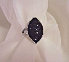 STEEL BY DESIGN (QVC) FAUX BLACK SPINNEL RING SIZE 8