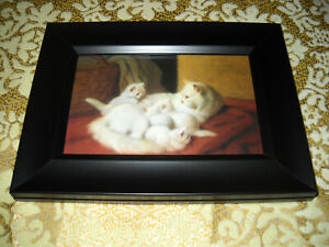 MOTHER CAT 4 KITTENS 4 X 6 black framed animal picture Victorian style art print