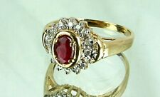 RUBY & DIAMOND RING *14KT GOLD* ANTIQUE c.1930'S SIZE 6