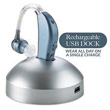 Digital Hearing Sound Amplifier Enhancer Rechargeable 500 hr Battery Modern Blue