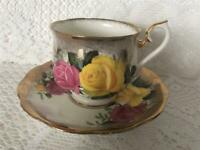 Royal Albert Cup & Saucer Set White w Heavy Brushed Gold & Pink and Yellow Roses
