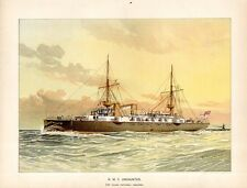 Stampa antica UNDAUNTED nave vela e vapore 1892 Old antique print ship