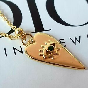 Gold Seeing Eye Heart Pendant And Chain With Emerald Style Gem Stone jewellery