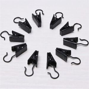 Pack of 10 Black Metal Iron Hanging Clips Clothings & Curtains Hook Hangers