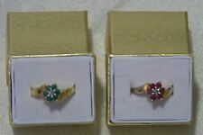 Estate Find  Pair Gold Vermeil over Sterling Ruby ? & Emerald ? Rings