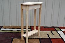 "Unfinished 18"" Narrow Console Sofa Foyer, Shaker Square Edge Pine Table w/Shelf"