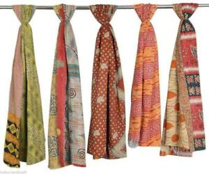 5 Pc Indian Cotton Kantha Scarf Reversible Head Wrap Stole Dupatta Hand Quilted