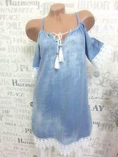 ITALY Sommerkleid Kleid Häkel Spitze Jeans-Vintage-Look 36 38 40 Blau E519