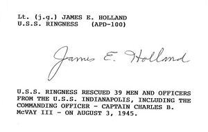 James Holland Signed Index Card BAS E57266 WWII USS Ringness APD-100