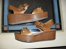 LOVELY TOPSHOP TAN LEATHER LOW PLATFORM WEDGE  SHOES  SIZE 6 EUR 39 NEW WITH BOX