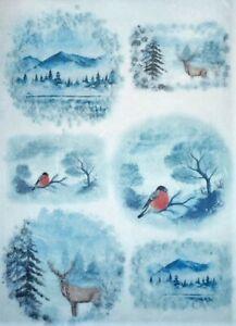Rice Paper for Decoupage Scrapbook Craft Animals Winter 349