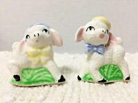 Vintage Wooly Lamb Sheep Salt Pepper Shaker Set