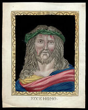 santino incisione 1800 ECCE HOMO dip. a mano