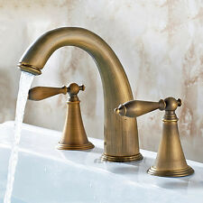 Vintage Brass Dual Handles Bathroom Vanity Basin Tap 3 Hole Mixer Sink Faucet