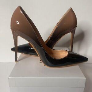 Black and Mocha Gradient Patent Leather Closed Pointed Toe Stilettos Sz 15 NIB
